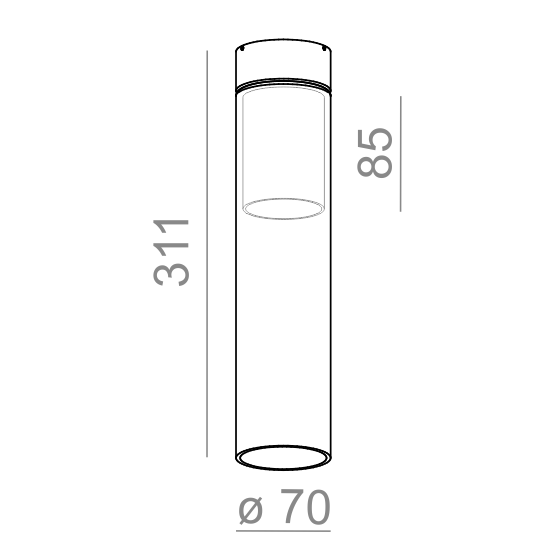 AQform Modern Glass Tube Oprawa Natynkowa 40414-0000-U8-PH-03