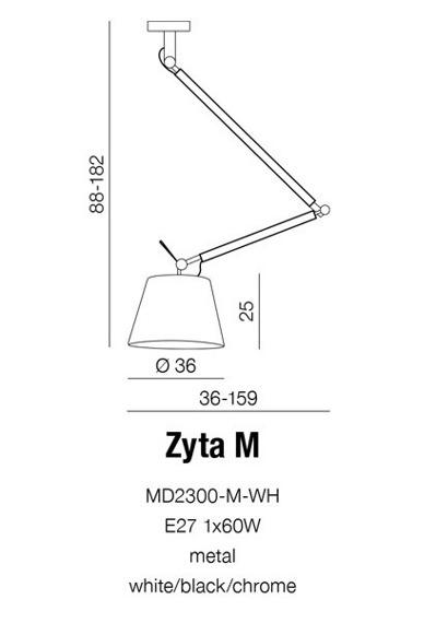 Azzardo Zyta M MD2300-M GR Zwis Szara