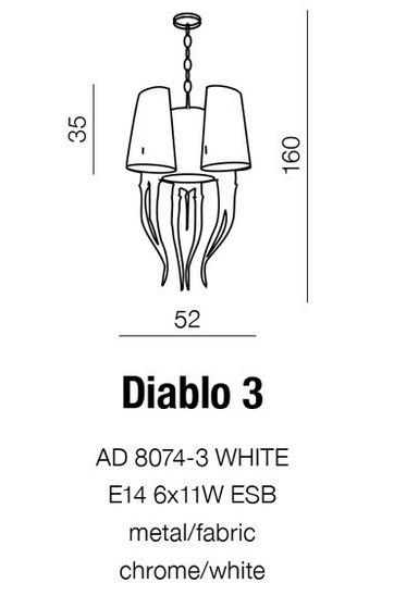 Diablo 3 AD 8074-3 Biała Lampa Wisząca AZZARDO
