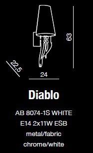 Diablo AB 8074-1S Biały Kinkiet AZZARDO