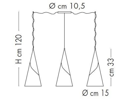 Lampade Italiane ALBACHIARA SP 1016/3x15 miedziany Zwis