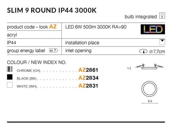 Oprawa Do Zabudowy Azzardo Slim 9 Round AZ2862 Chrom 4000K