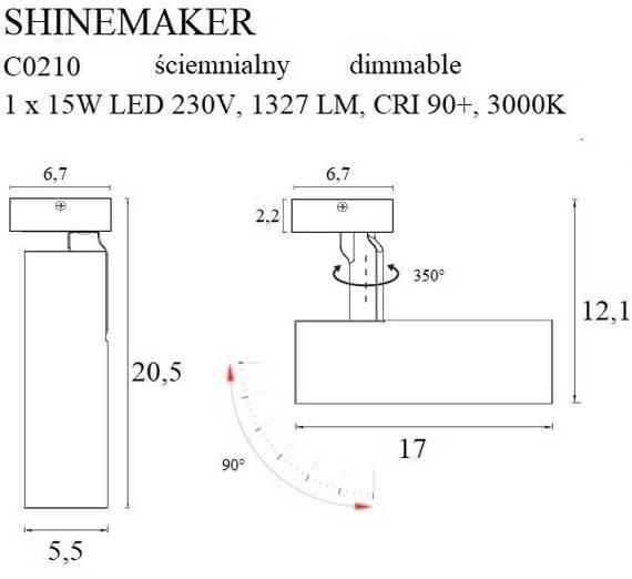 Reflektor Czarny MaxLight Shinemaker C0210 Ściemniany