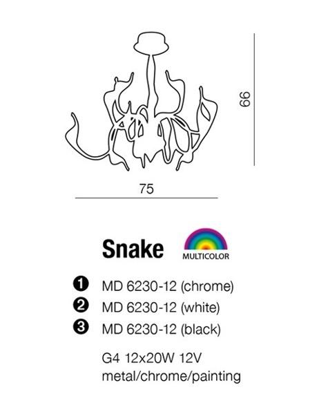 Snake MD 6230-12 Chrom Lampa Wisząca AZZARDO