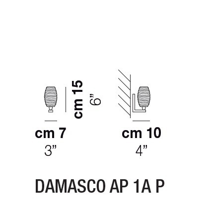 VISTOSI DAMASCO AP 1A P Cristal Kinkiet 15 cm