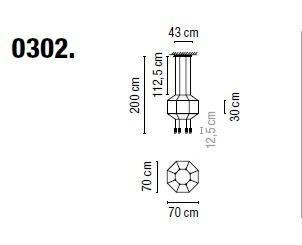 Zwis Wireflow 0302-04 Vibia czarna 70 cm