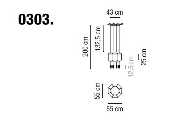 Zwis Wireflow 0303-04 Vibia czarna 55 cm