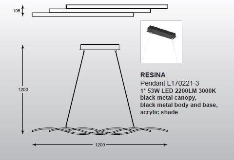 Żyrandol Zuma Line Resina L170221-3